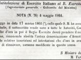 4 Maggio 1861 Nascita dell'Esercito Italiano
